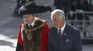 The Lord Mayor of London Jeffrey Mountevans, left, and Prince of Wales attend National Police Memorial Day