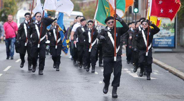 The Easter Rising Centenary Committee march in north Belfast yesterday