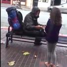 The moment Ella gave her dinner to a homeless man