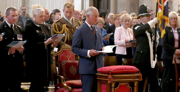 The Prince of Wales attends a service to commemorate National Police Memorial Day