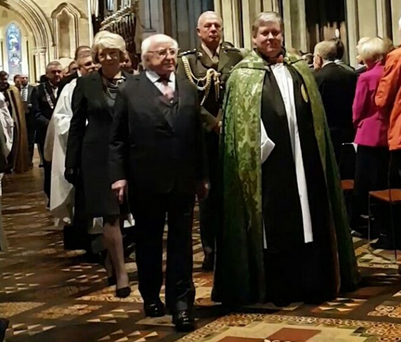 Newly installed Very Rev Dr William Morton, Dean of St Patrick's Cathedral, with President Michael D Higgins