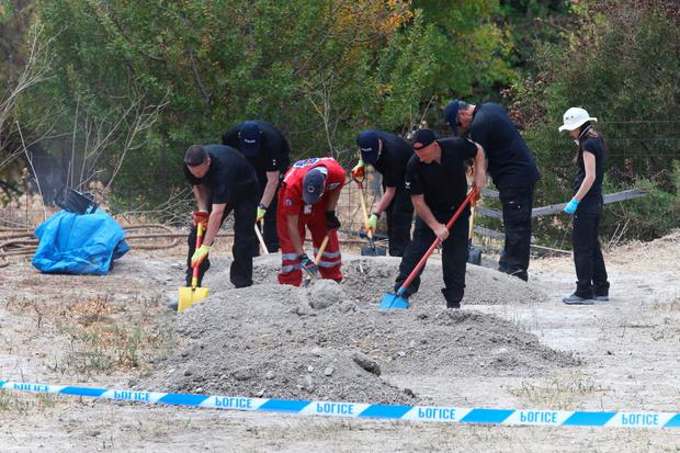A South Yorkshire Police search team sifts through piles of earth taken from an olive grove near the scene where toddler Ben Needham went missing in Kos, Greece, in 1991