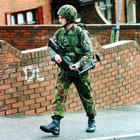 A soldier on patrol in Belfast in 1996