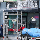 Clean- up at Fonzie's after act of vandalism