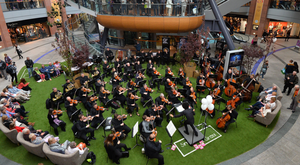 The Ulster Orchestra celebrates its 50th birthday with a performance at Victoria Square in Belfast yesterday