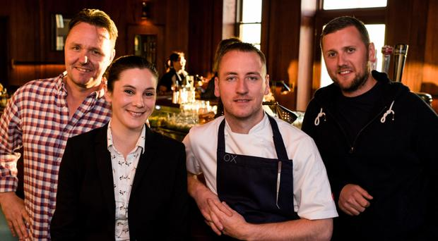 OX chef Stevie Toman (third from left) with Sean Muldoon, Jack McGarry and Jillian Vose of New York's Dead Rabbit