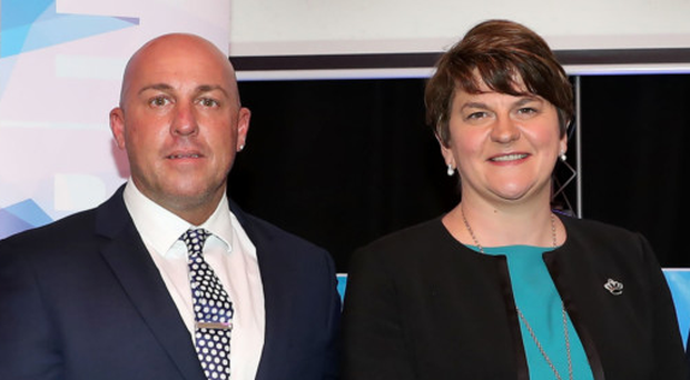 First Minister Arlene Foster (centre) with councillor Sharon Skillen, Charter NI CEO David Stitt, Charter NI chairman Drew Haire and project manager Caroline Birch
