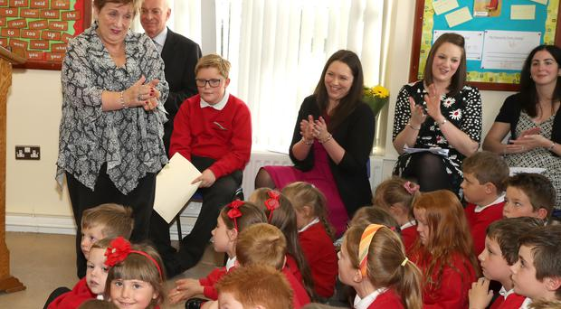 Olivia Nash chats to kids at Loughries Integrated Primary