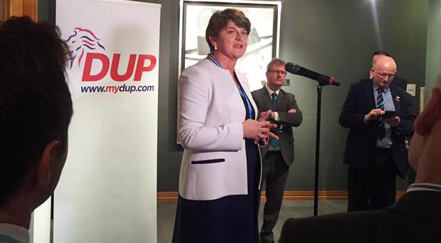 First Minister Arlene Foster speaks at the DUP event at the Conservative conference in Birmingham