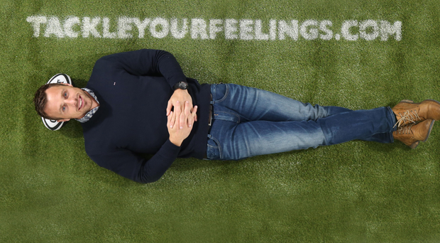 Tommy Bowe supporting the Tackle Your Feelings campaign at the Kingspan stadium last night