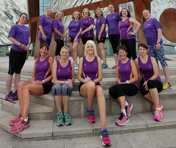 Members of Jog Lisburn Running Club check out the new Runher race