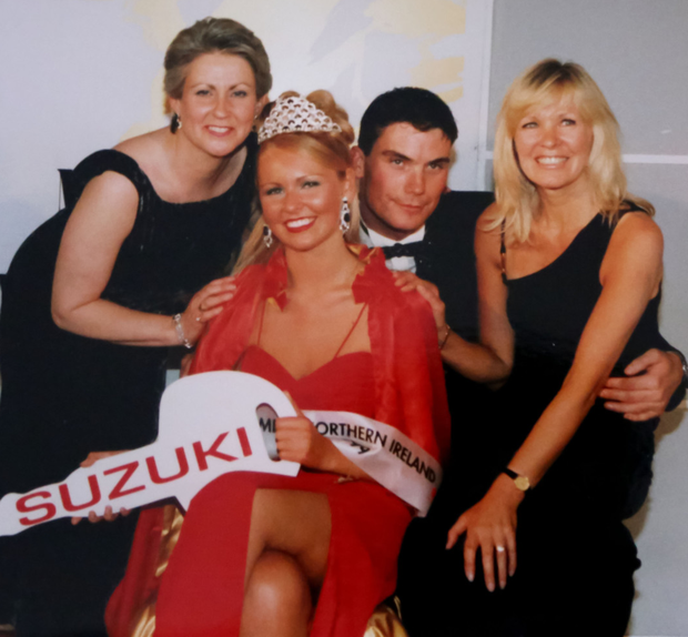 Celebrating Zoe's crowning moment as Miss Northern Ireland in 1999