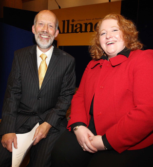 Outgoing Alliance leader David Ford with Naomi Long