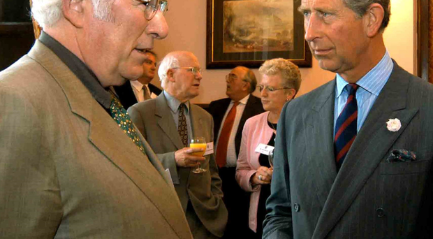 Irish writer Seamus Heaney with the Prince of Wales in 2003
