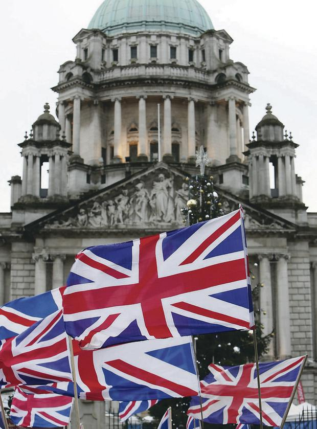 A loyalist flag protest outside Belfast City Hall