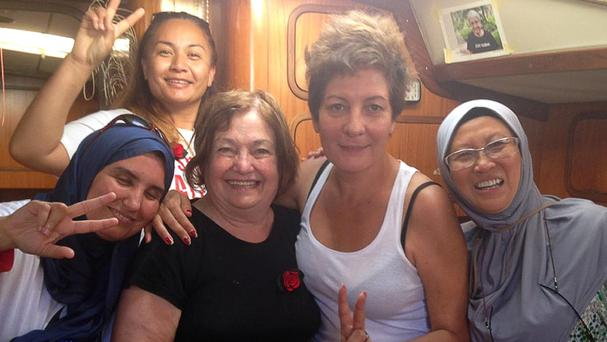 (left to right) Samira Douaifia, Marama Davidson, Mairead Maguire, Jeannette Escanilla and Fauziah Hasan
