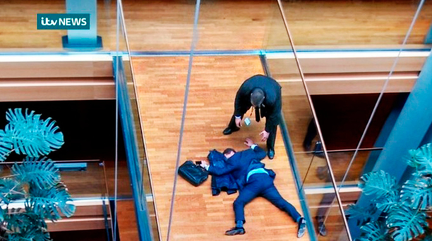 Ukip leadership favourite Steven Woolfe on the floor following an altercation at a meeting of the party's MEPs in the European Parliament building