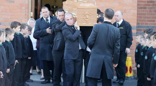 The funeral of Sister Carmel Martin takes place at Sacred Heart on the Oldpark Road in north Belfast yesterday