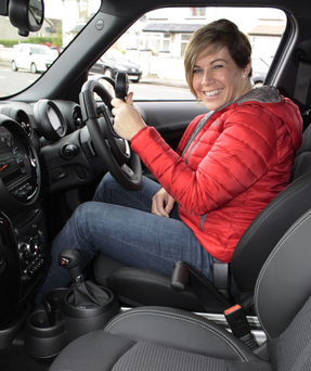 Clodagh Dunlop in her newly adapted Mini Cooper Countryman