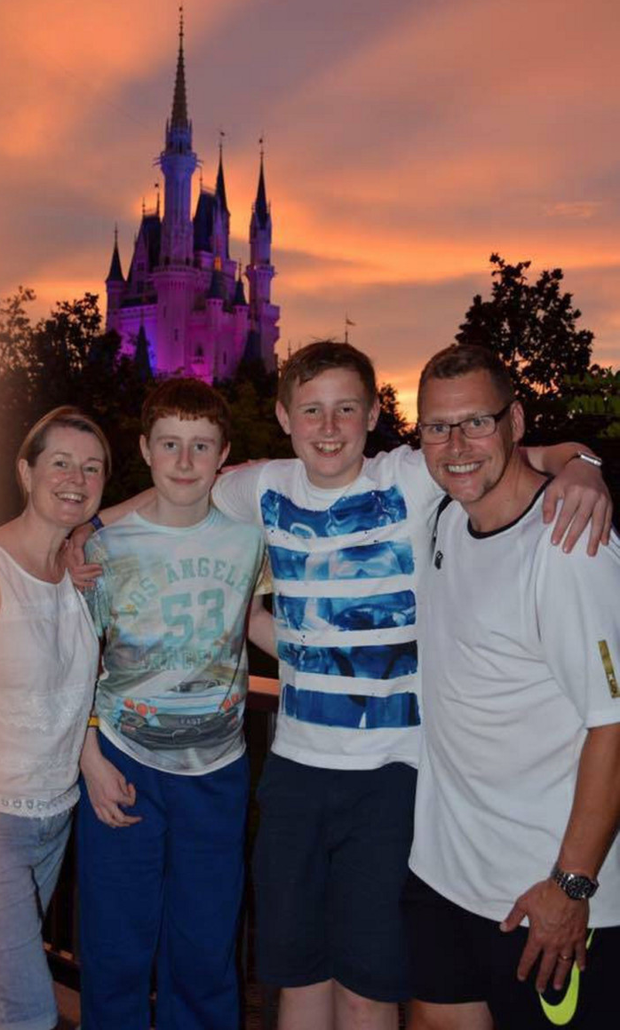Josh Martin (second from right) with mum Kim, brother David and dad Tim on holiday in July