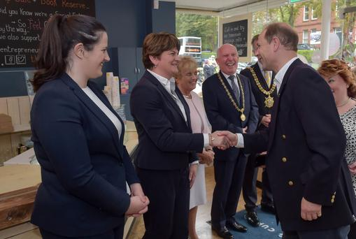 The Earl of Wessex meets First Minister Arlene Foster and Justice Minister Claire Sugden at the Thinking Cup Coffee Shop in Belfast