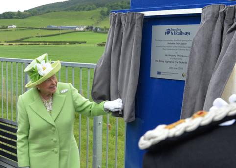 The Queen unveiling the plaque at Bellarena railway halt in June
