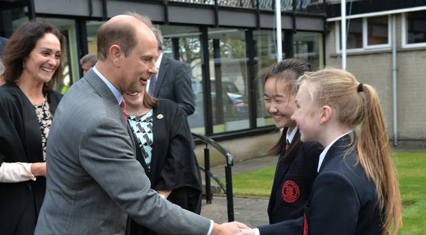HRH The Earl of Wessex speaking with pupils from Ballyclare High School