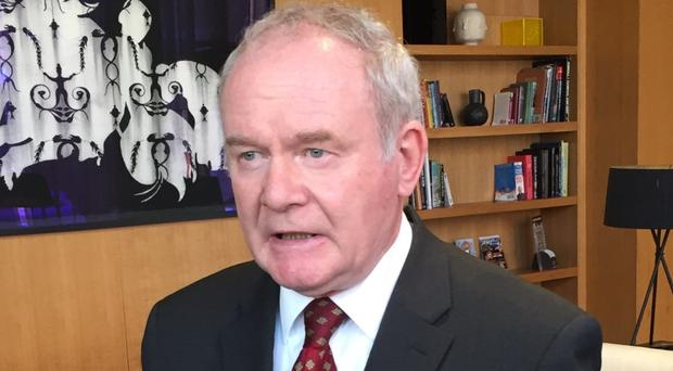 Sinn Fein Deputy First Minister Martin McGuinness speaking to the media