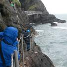 The Gobbins path takes a precipitous course across dramatic cliffs