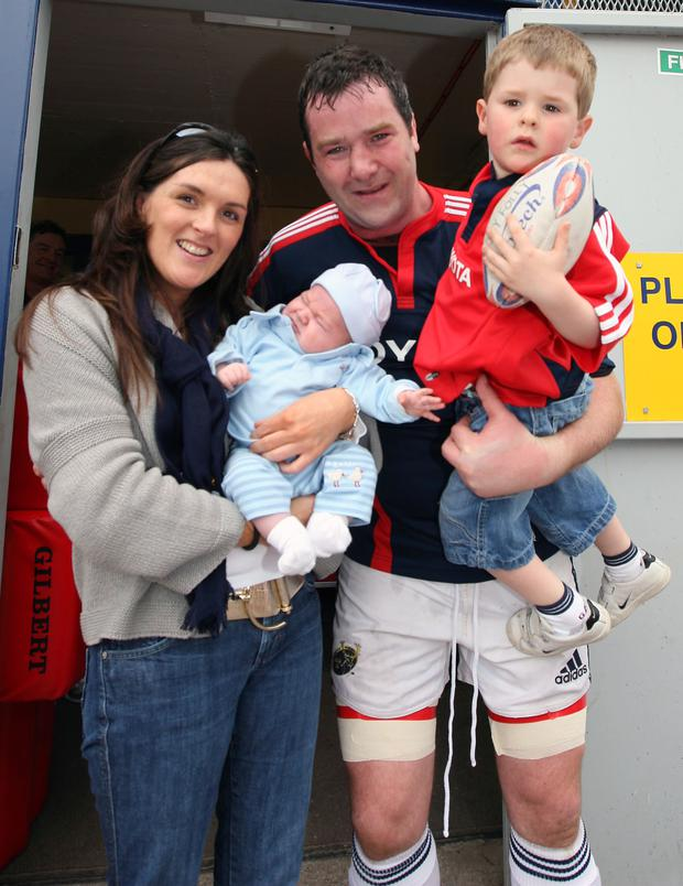 Anthony Foley with his wife and children before the game