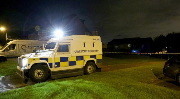 The scene of a shooting incident in the Glenwood Drive area of west Belfast