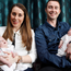 Fiona and Stephen McIlwaine hold their baby twins Robyn and Freya yesterday