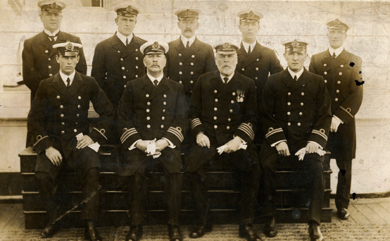 Captain Edward Smith (front row, second from right) and his officers on board the Titanic the day before the ship departed on its ill-fated voyage