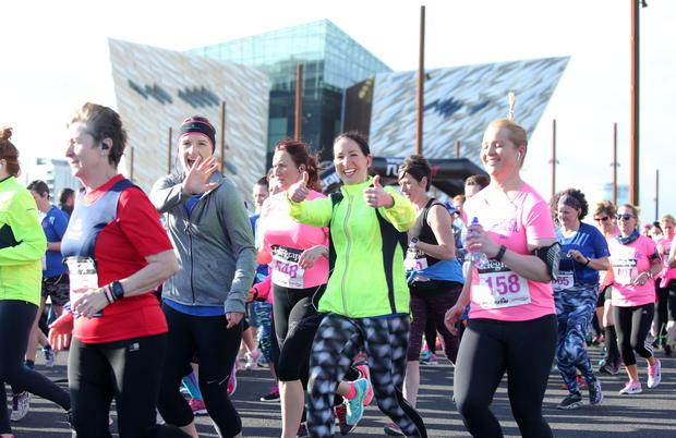 Runners taking part in the Belfast Telegraph and Pure Running RunHer Titanic 5&10k race in the Titanic Quarter