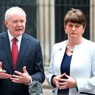 First Minister Arlene Foster and Deputy First Minister Martin McGuinness speak to the Press outside 10 Downing Street yesterday after taking part in talks on the government's Brexit plans