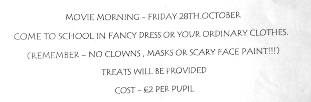 The note sent to parents about clown costumes