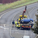 The scene of the crash between a car and a lorry in Co Antrim
