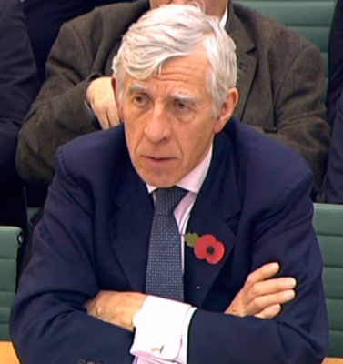 Former foreign secretary Jack Straw giving evidence to the Northern Ireland Affairs Committee