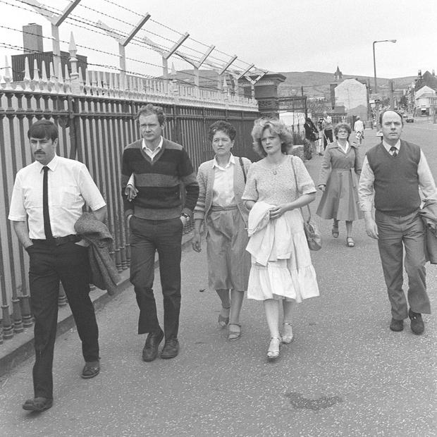 Some of his family arrive with Martin McGuinness at Crumlin Road Courthouse in Belfast in 1983