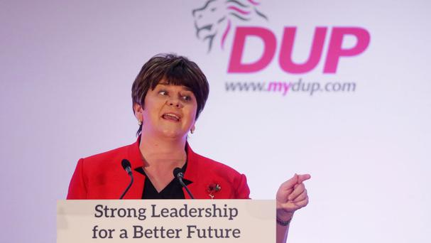First Minister and DUP leader Arlene Foster delivers her keynote speech