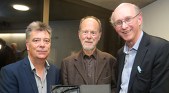 Bob Collins is presented with the Spirit of Festival award at the MAC by Belfast Telegraph executive editor John Laverty (left) and festival director Richard Wakely