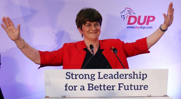 Arlene Foster addressing her first DUP annual conference as leader