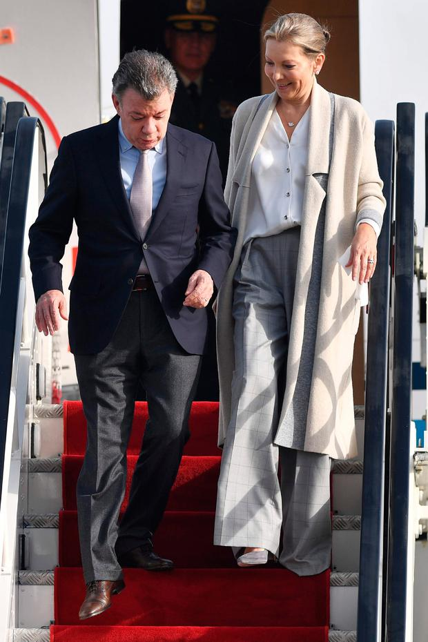 Colombian President Juan Manuel Santos and his wife Maria Clemencia Rodriguez arriving in London yesterday