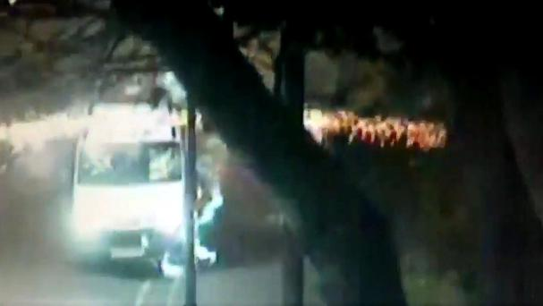A police van is pelted with a volley of fireworks in Birmingham (West Midlands Police/PA Wire)