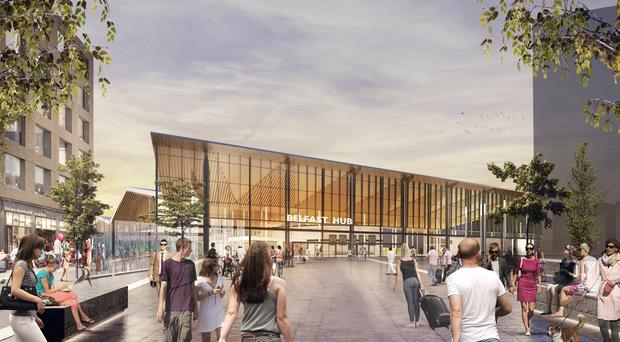 Artists impression of the proposed new Belfast Transport Hub on the site of the current Europa Bus Centre/Great Victoria Street site. Pic from Translink