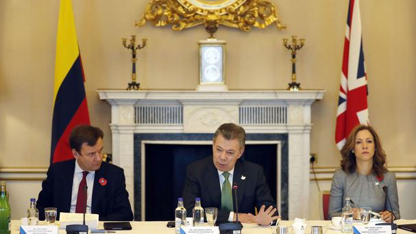 Colombia's president Juan Manuel Santos during a UK-Colombia business breakfast meeting at Buckingham Palace in London
