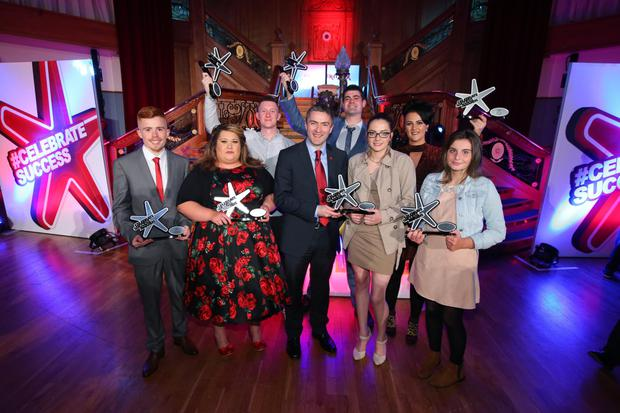 At the awards last night (from left) Ryan Morris (Young Achiever Award), Marianne Blaney (Enterprise Award), Ryan Lennon (Rising Star Award), Mark Dougan (Director of Prince's Trust), John Devlin (Young Ambassador Award), Shannon Connor (Education Award), Gearoidin Barr (Breakthrough Award); and Aimee Kelly from Sacred Heart College (Community Impact Award)