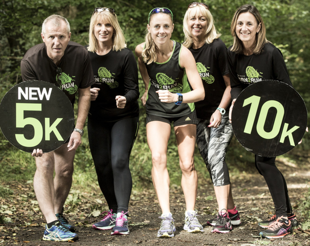 From left: Gerard and Jane Rowe, Olympian Kerry O'Flaherty, Jackie Reid of Belfast Telegraph and Carol McMenamin at the launch of the 2016 Run Forest Run series