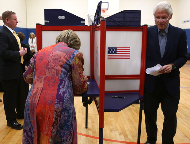 The Clintons cast their vote at a polling booth during a previous election