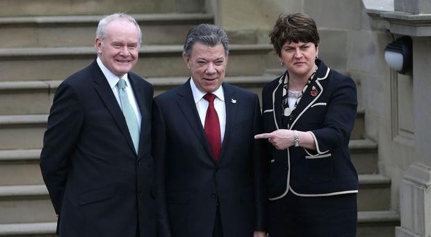 Colombia's president Juan Manuel Santos with First Minister Arlene Foster and Deputy First Minister Martin McGuinness